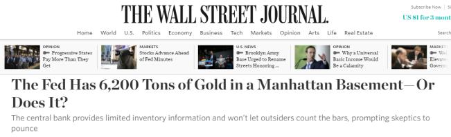 Компания BullionStar цитирована в статье Уолл стрит джорнал о золоте ФРБ Нью-Йорка
